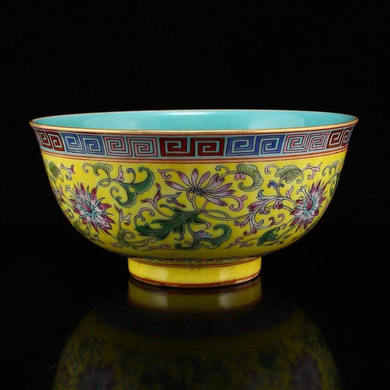Gilt Edges Yellow Ground Famille Rose Porcelain Bowl - 3