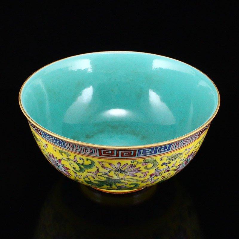 Gilt Edges Yellow Ground Famille Rose Porcelain Bowl - 4