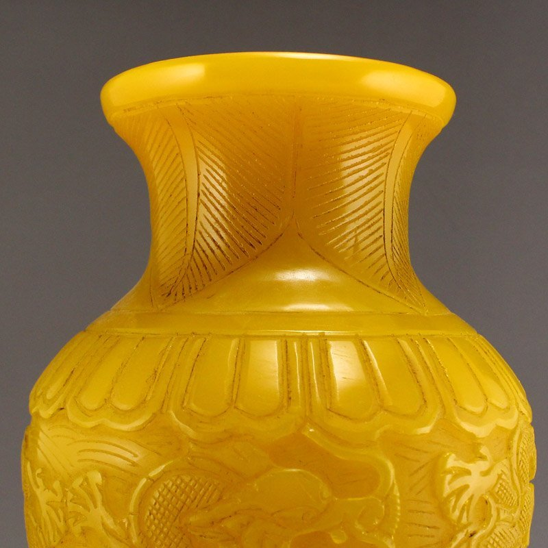 Chinese Qing Dy Peking Yellow Glass Vase - 8