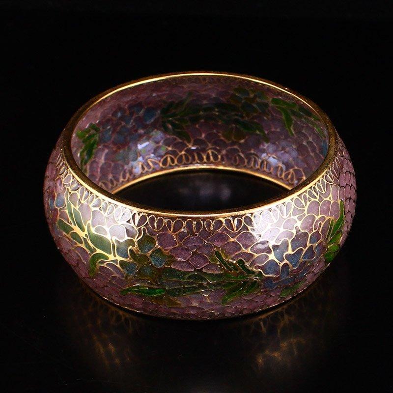 Beautiful Chinese Gilt Gold Bodiless Cloisonne Bracelet - 3
