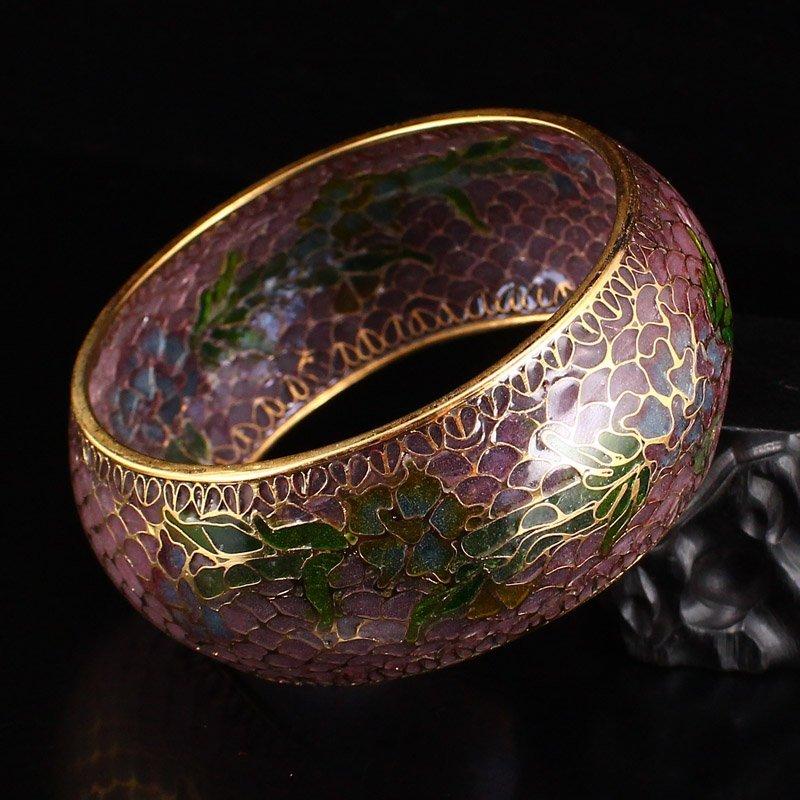 Beautiful Chinese Gilt Gold Bodiless Cloisonne Bracelet - 6