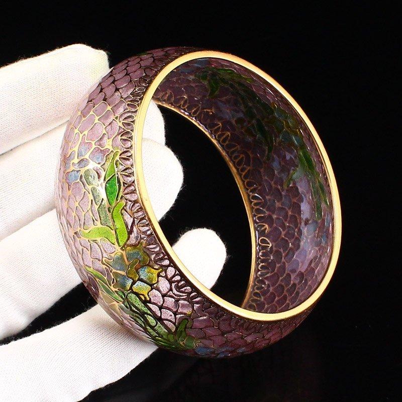 Beautiful Chinese Gilt Gold Bodiless Cloisonne Bracelet - 8