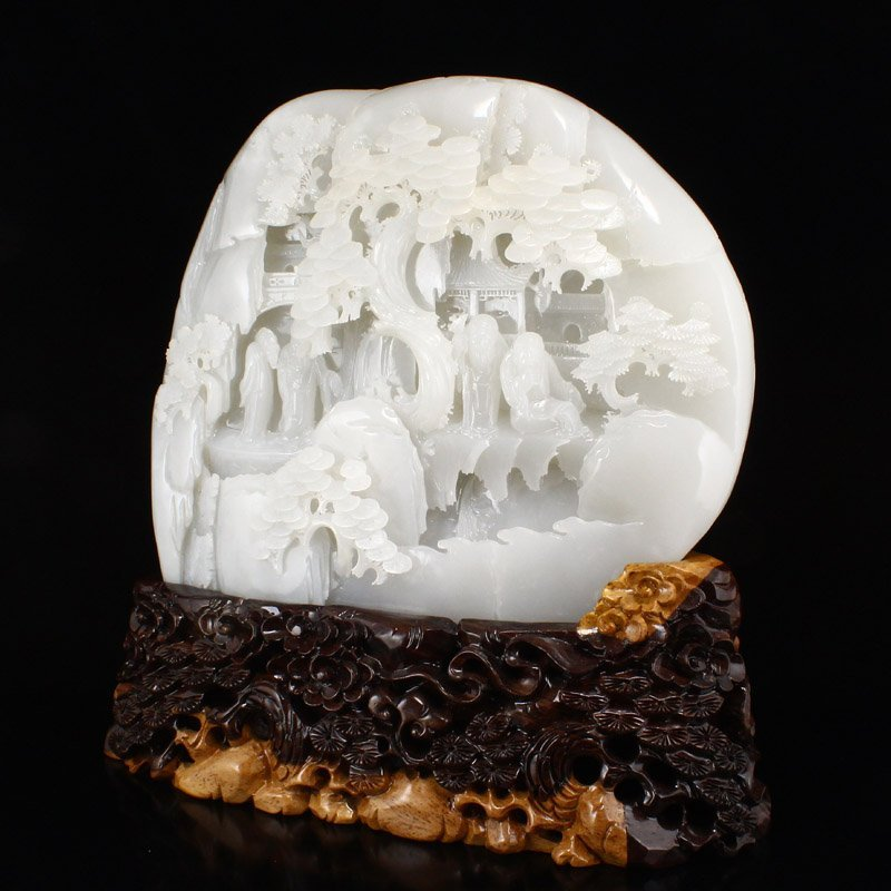 Superb Qing Dy Hetian Jade Statue - Sages & Pine Tree - 2