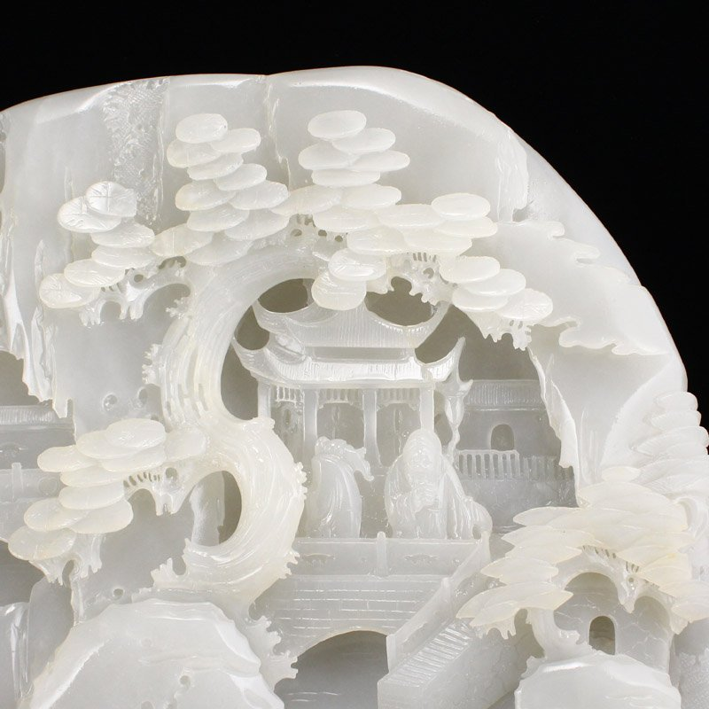 Superb Qing Dy Hetian Jade Statue - Sages & Pine Tree - 5