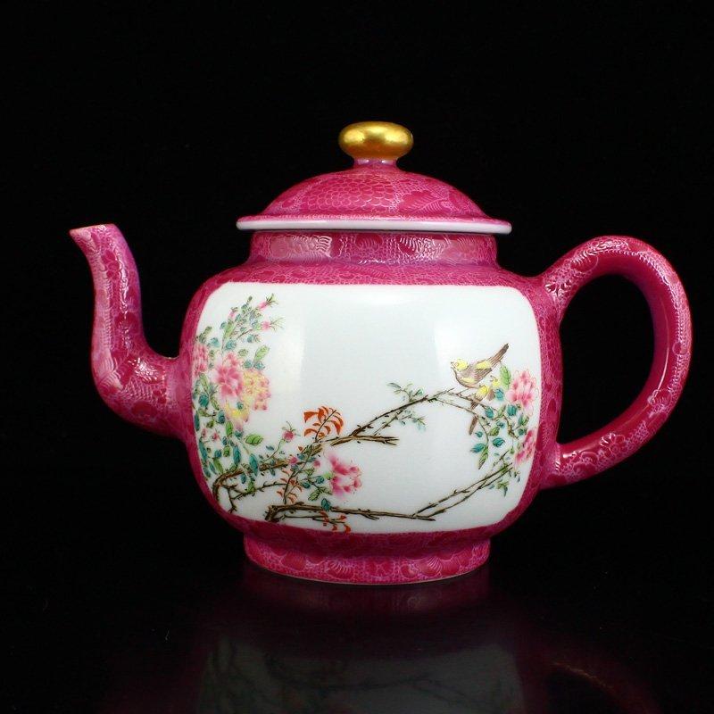 A Set Gilt Gold Rouge Red Glaze Porcelain Teapot & Cups - 2