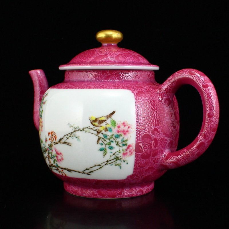 A Set Gilt Gold Rouge Red Glaze Porcelain Teapot & Cups - 3