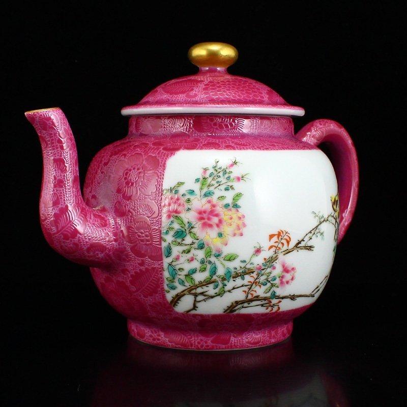 A Set Gilt Gold Rouge Red Glaze Porcelain Teapot & Cups - 4