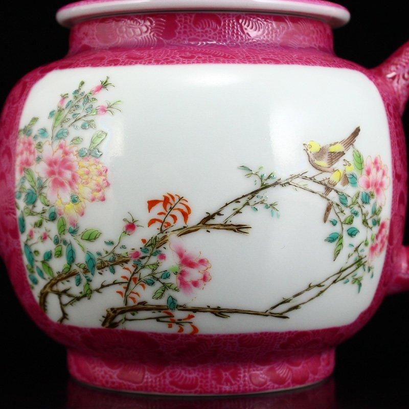 A Set Gilt Gold Rouge Red Glaze Porcelain Teapot & Cups - 9