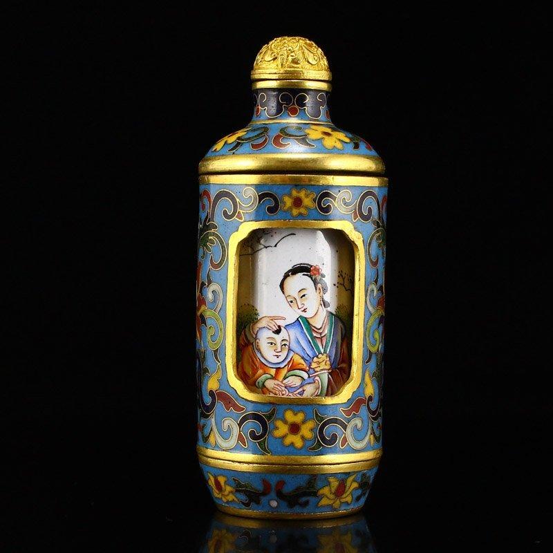 Gilt Gold Red Copper Cloisonne Turn Heart Snuff Bottle - 3