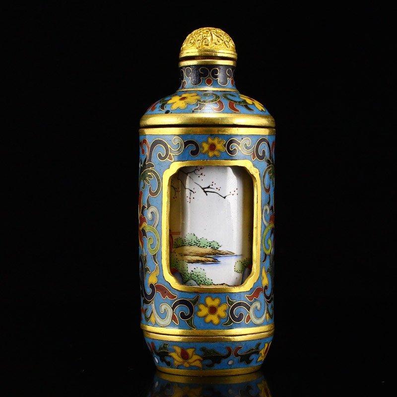 Gilt Gold Red Copper Cloisonne Turn Heart Snuff Bottle - 4