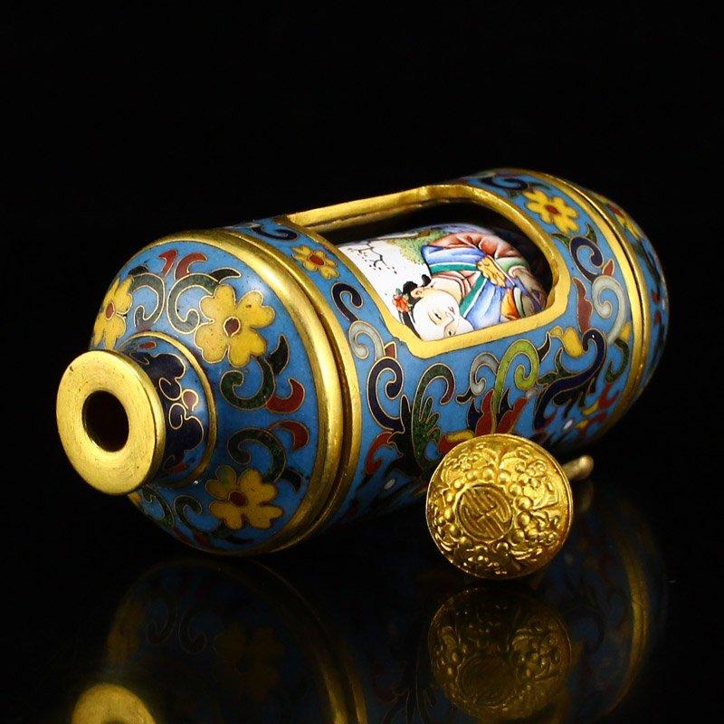 Gilt Gold Red Copper Cloisonne Turn Heart Snuff Bottle - 5