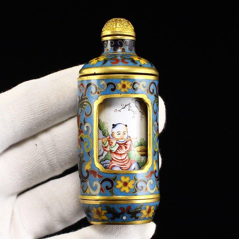Gilt Gold Red Copper Cloisonne Turn Heart Snuff Bottle - 7