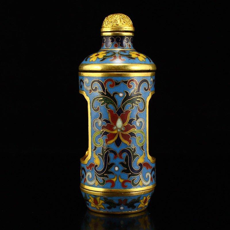 Gilt Gold Red Copper Cloisonne Turn Heart Snuff Bottle - 8