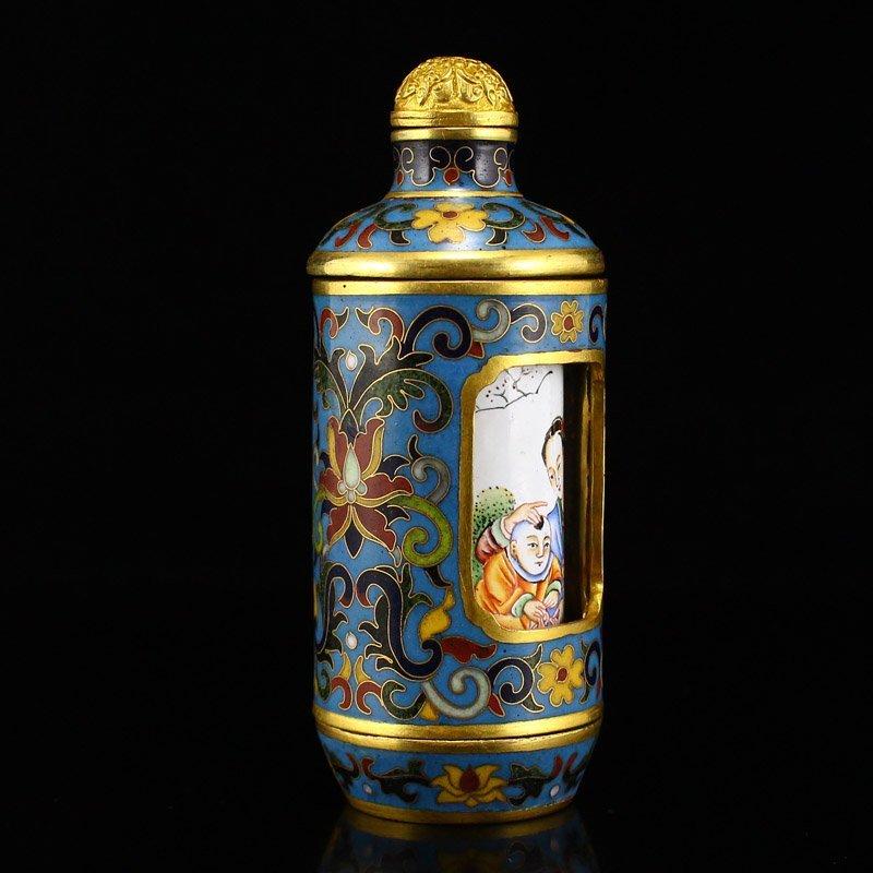 Gilt Gold Red Copper Cloisonne Turn Heart Snuff Bottle - 9
