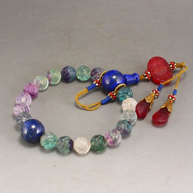 Chinese Qing Dy Tourmaline Beads Bracelet w Box - 3