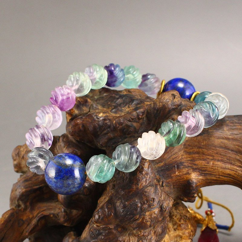 Chinese Qing Dy Tourmaline Beads Bracelet w Box - 8