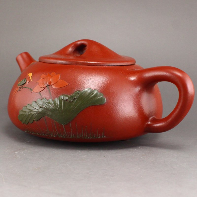 Chinese Yixing Zisha Clay Teapot w Artist Signed - 2