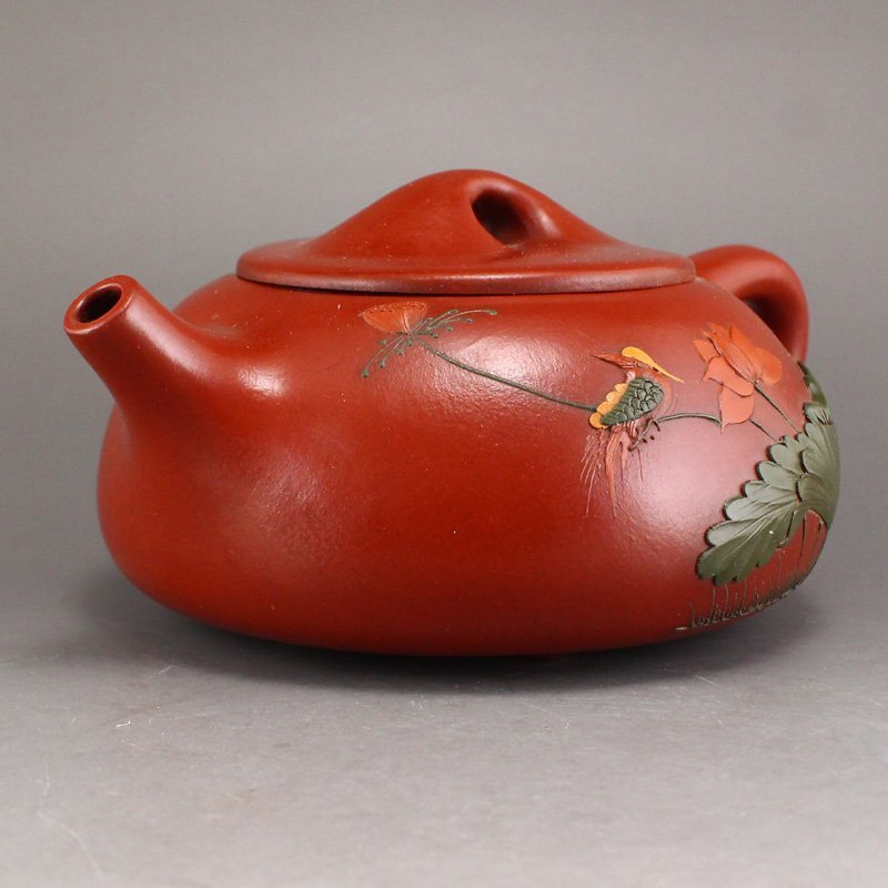 Chinese Yixing Zisha Clay Teapot w Artist Signed - 3