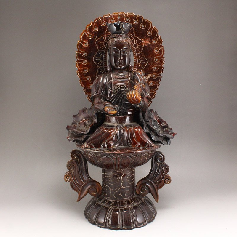 Vintage Chinese Ox Horn Lotus Kwan-yin Statue