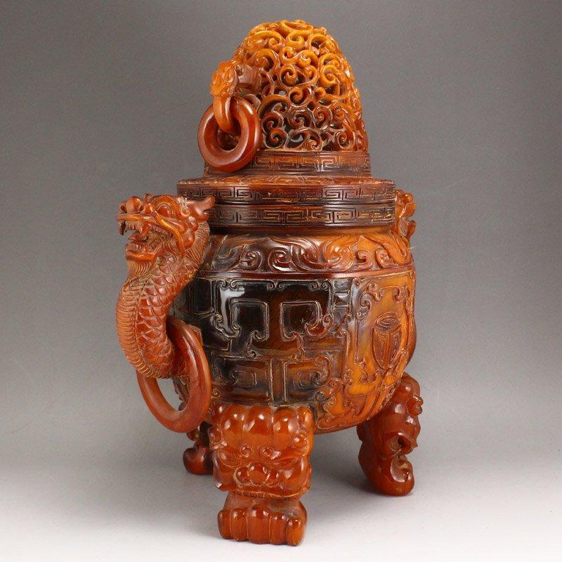 Vintage Openwork Double Dragon Ox Horn Incense Burner - 2
