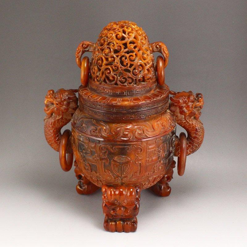 Vintage Openwork Double Dragon Ox Horn Incense Burner - 5