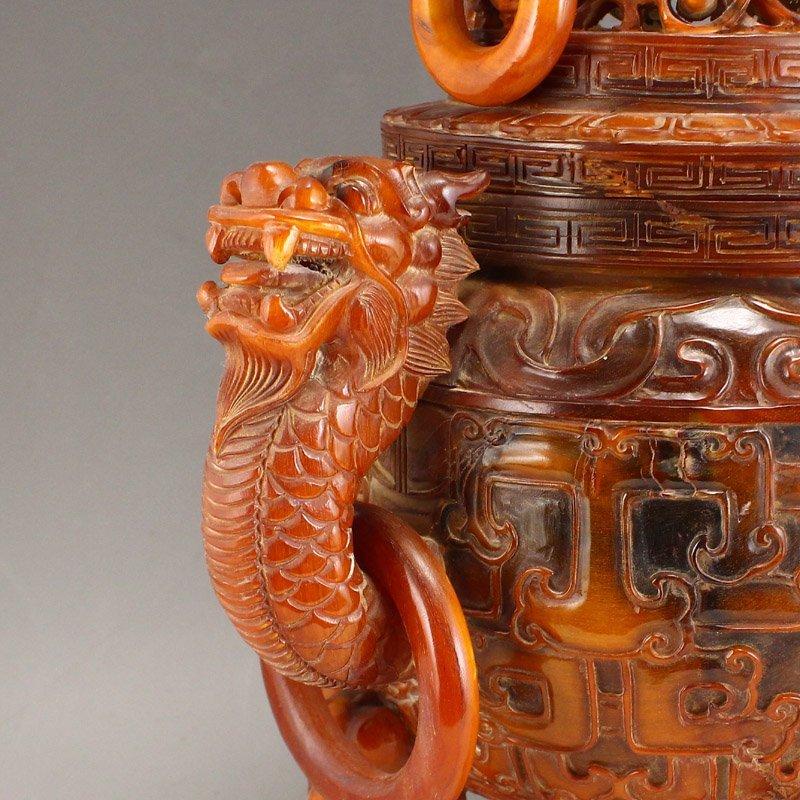 Vintage Openwork Double Dragon Ox Horn Incense Burner - 7
