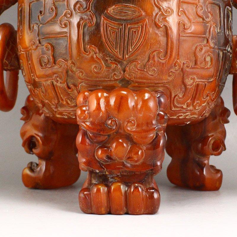 Vintage Openwork Double Dragon Ox Horn Incense Burner - 8