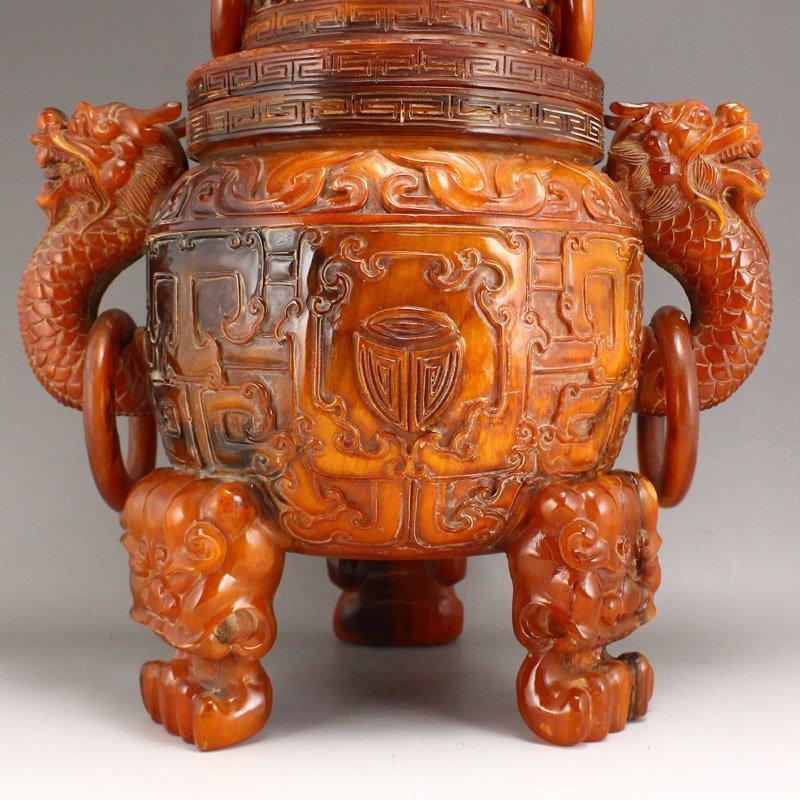 Vintage Openwork Double Dragon Ox Horn Incense Burner - 9