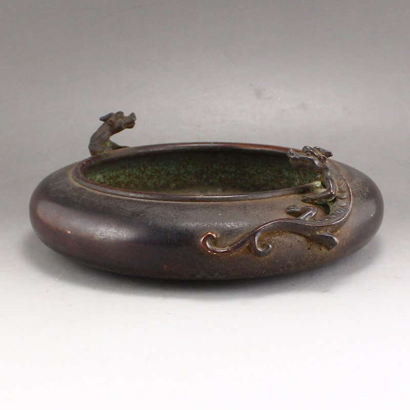 Chinese Ming Dy Red Copper Chi Dragon Brush Washer - 2