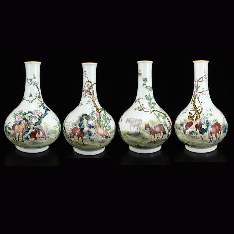Set Gilt Edge Famille Rose Porcelain Eight Horses Vase