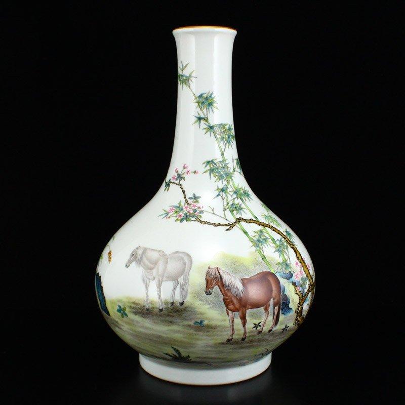 Set Gilt Edge Famille Rose Porcelain Eight Horses Vase - 2