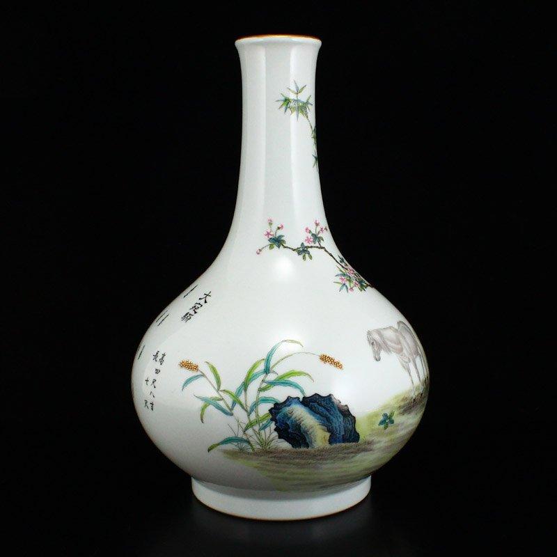 Set Gilt Edge Famille Rose Porcelain Eight Horses Vase - 3