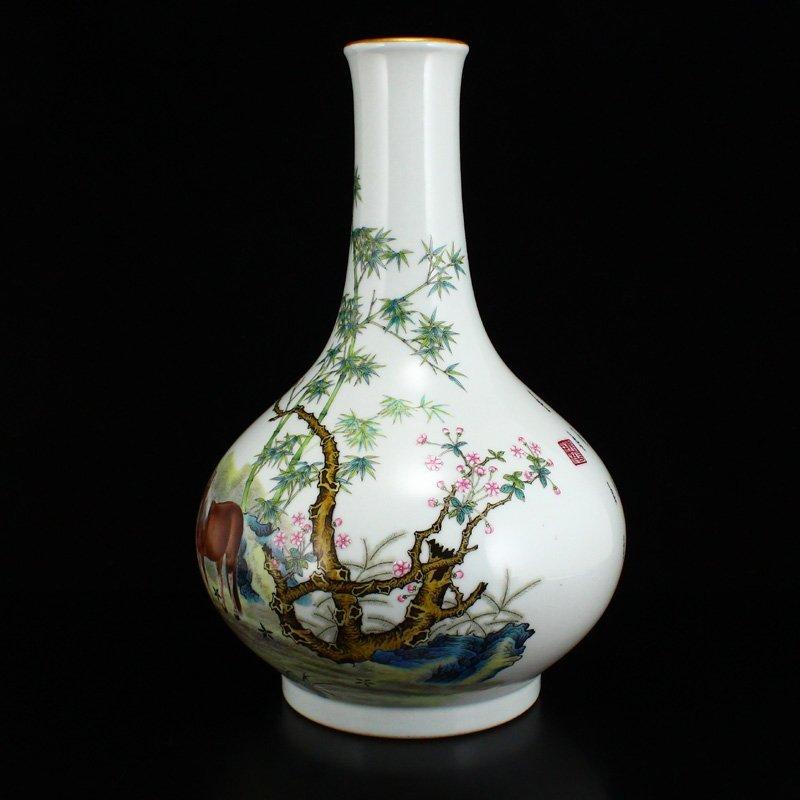 Set Gilt Edge Famille Rose Porcelain Eight Horses Vase - 4