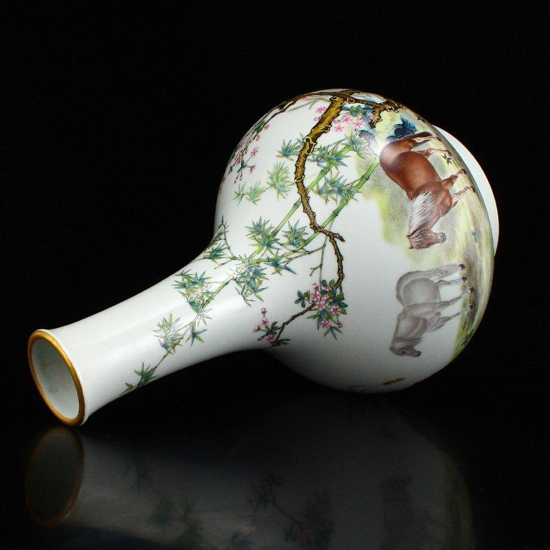 Set Gilt Edge Famille Rose Porcelain Eight Horses Vase - 6