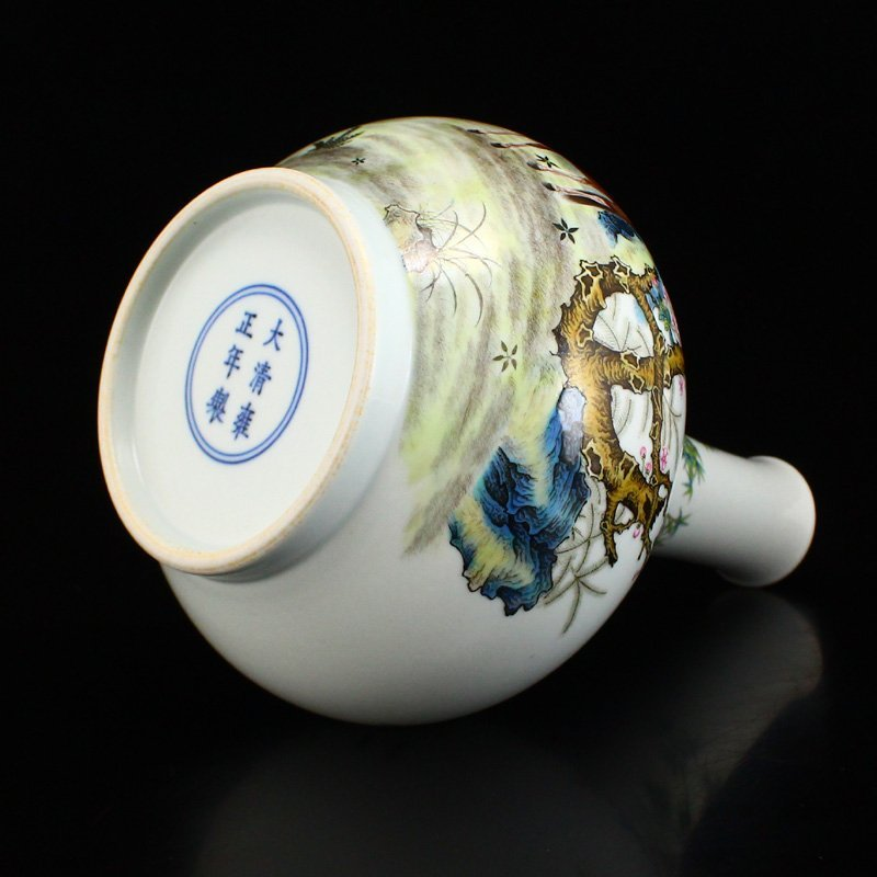 Set Gilt Edge Famille Rose Porcelain Eight Horses Vase - 7