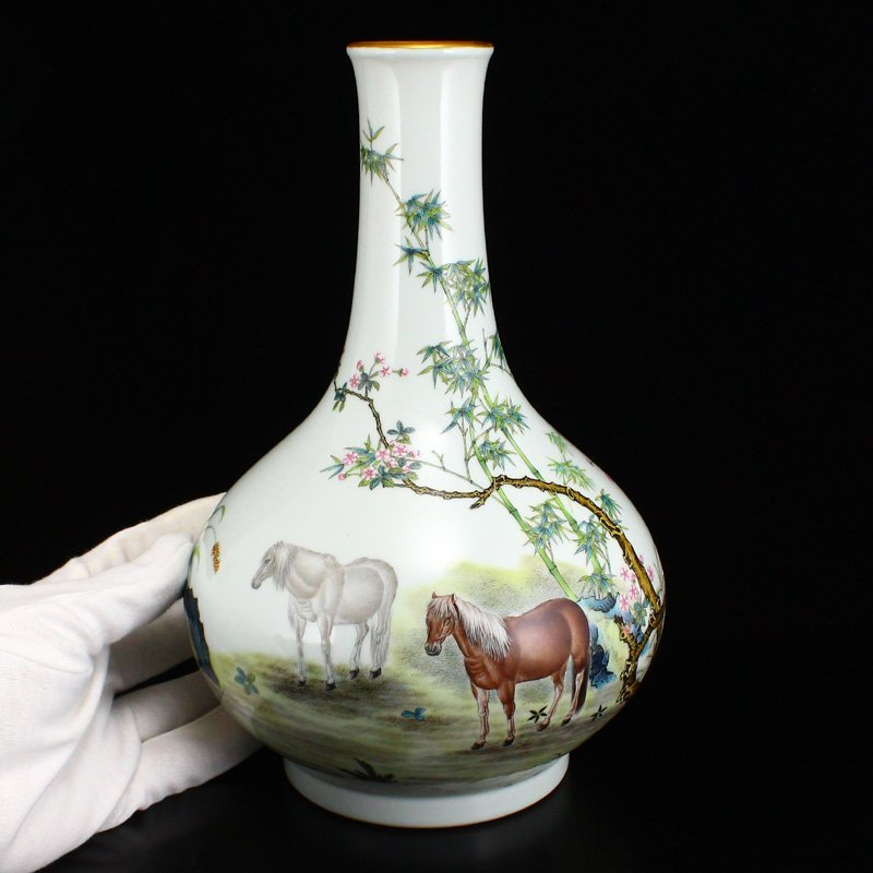 Set Gilt Edge Famille Rose Porcelain Eight Horses Vase - 9