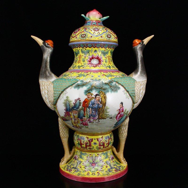 Superb Gilt Edges Famille Rose Porcelain Incense Burner