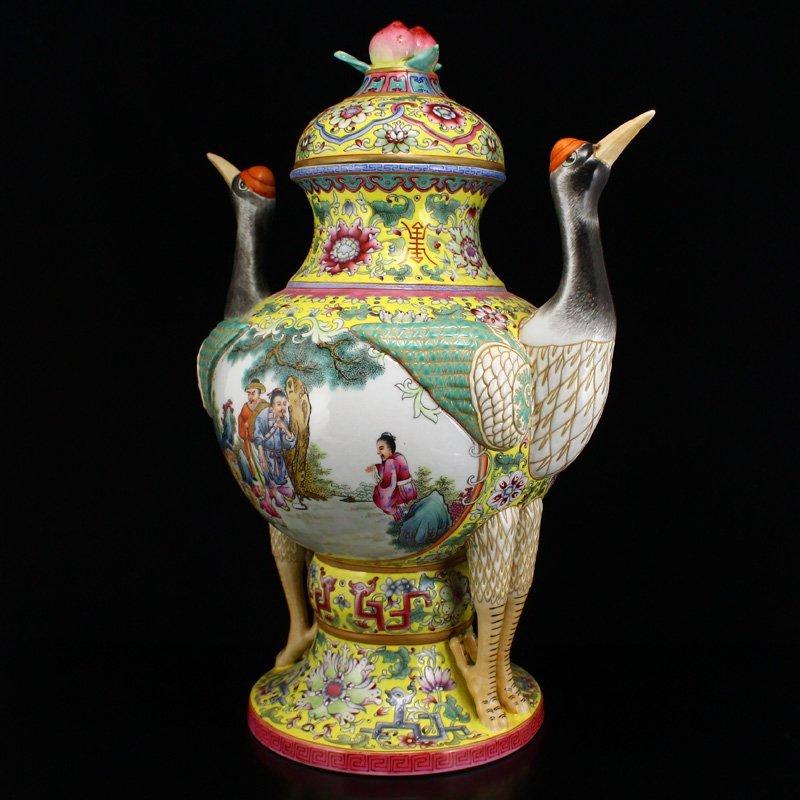 Superb Gilt Edges Famille Rose Porcelain Incense Burner - 2