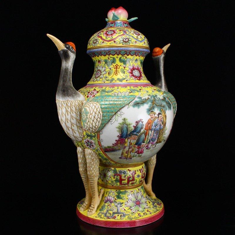 Superb Gilt Edges Famille Rose Porcelain Incense Burner - 3