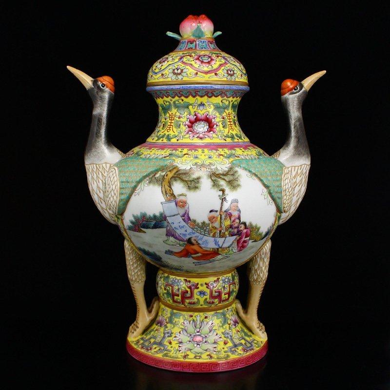 Superb Gilt Edges Famille Rose Porcelain Incense Burner - 4