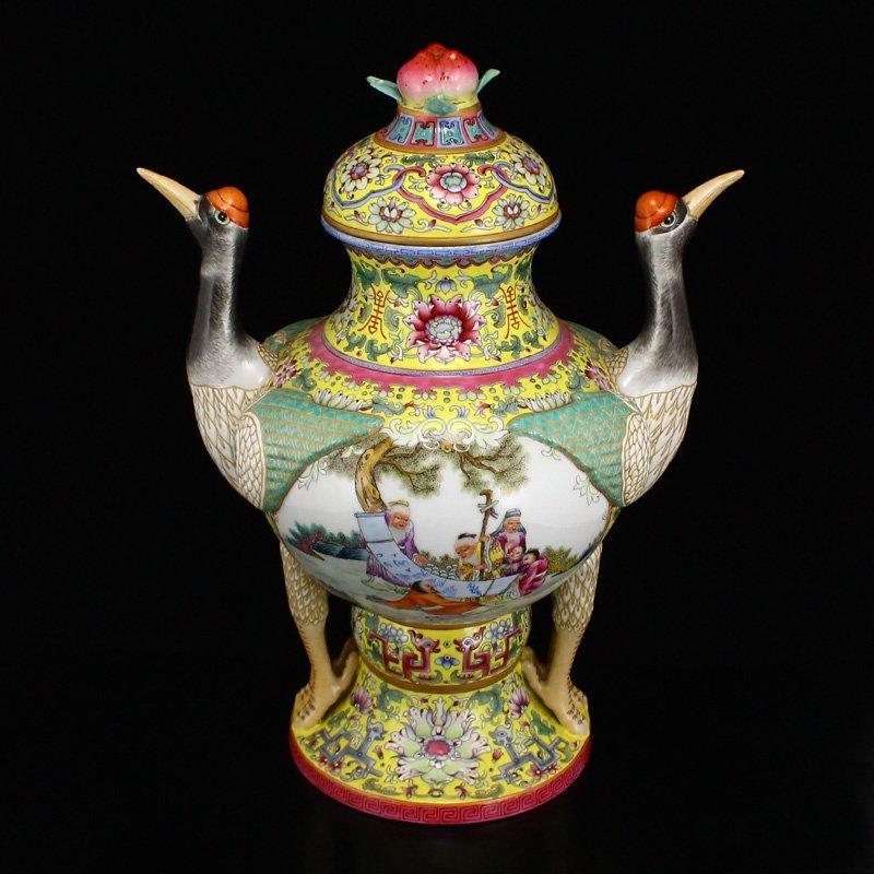 Superb Gilt Edges Famille Rose Porcelain Incense Burner - 5