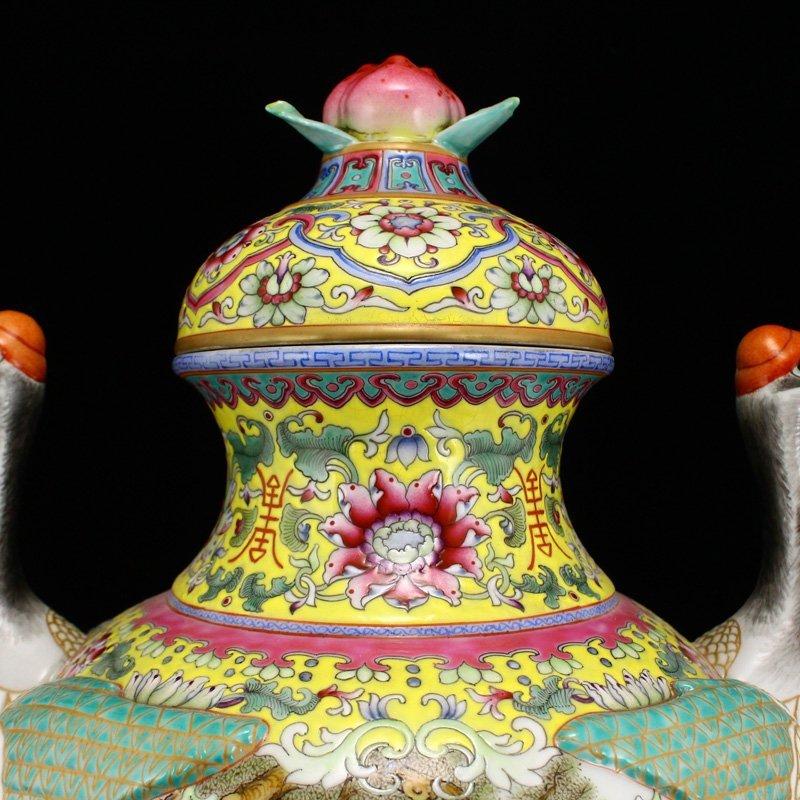 Superb Gilt Edges Famille Rose Porcelain Incense Burner - 8