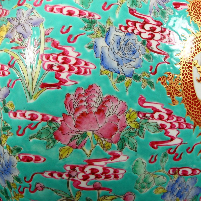 Famille Rose Porcelain Dragon Phoenix Big Wine Pot - 10
