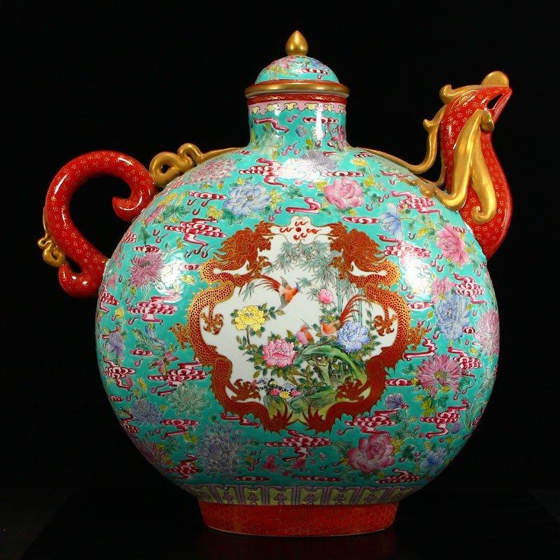 Famille Rose Porcelain Dragon Phoenix Big Wine Pot
