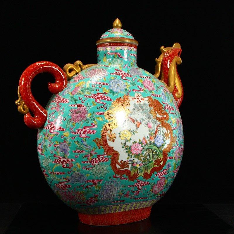 Famille Rose Porcelain Dragon Phoenix Big Wine Pot - 2