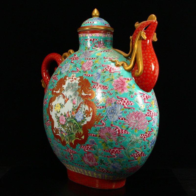 Famille Rose Porcelain Dragon Phoenix Big Wine Pot - 3
