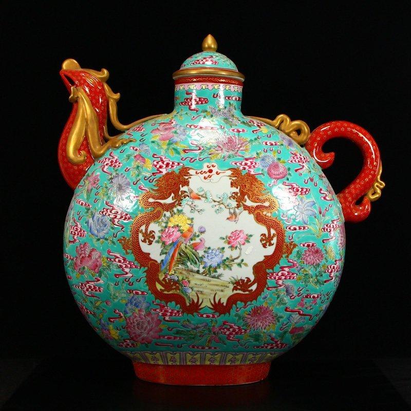 Famille Rose Porcelain Dragon Phoenix Big Wine Pot - 4