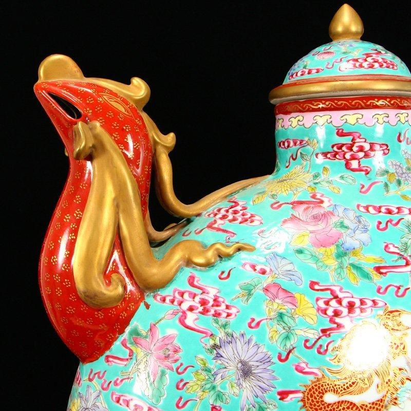 Famille Rose Porcelain Dragon Phoenix Big Wine Pot - 5