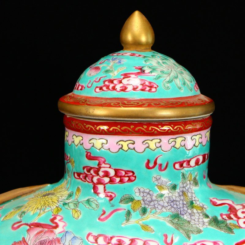 Famille Rose Porcelain Dragon Phoenix Big Wine Pot - 6