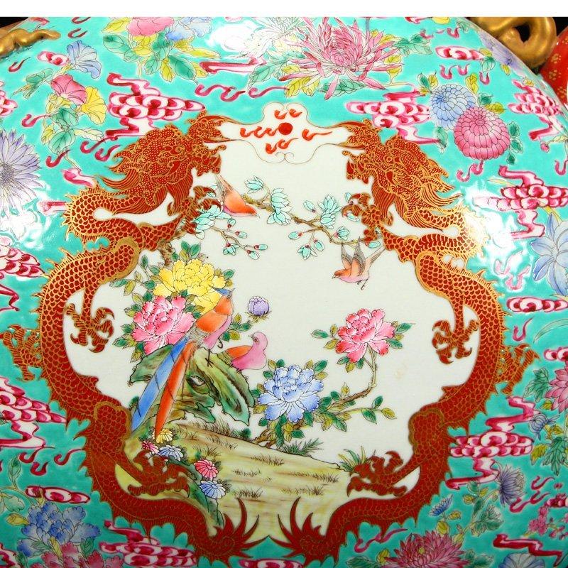 Famille Rose Porcelain Dragon Phoenix Big Wine Pot - 7
